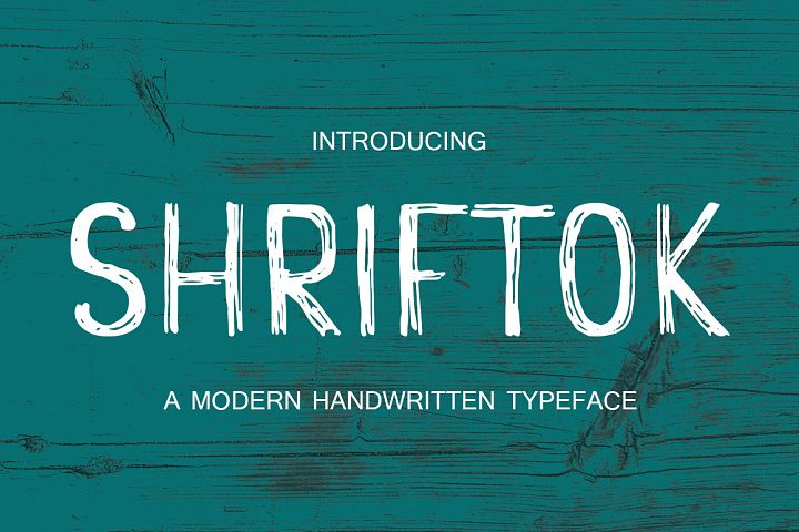 Shriftok typeface font painted by ink and pen
