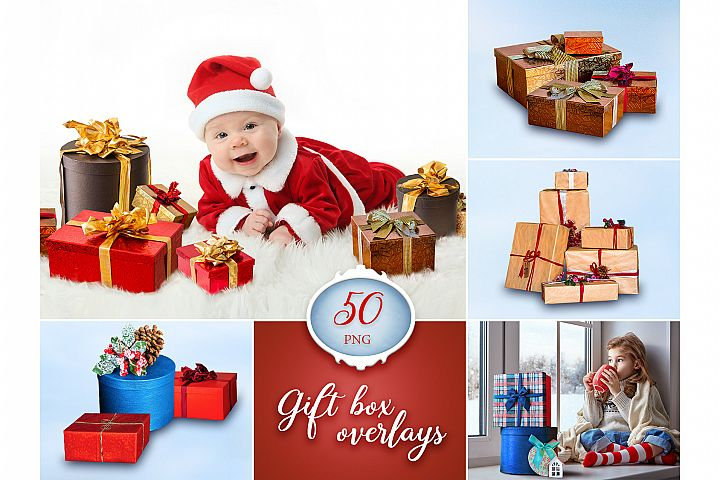 50 Gift Box Photo Overlays