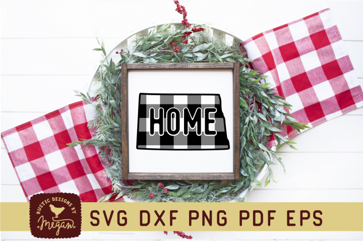 North Dakota Buffalo Plaid State SVG DXF Cut File
