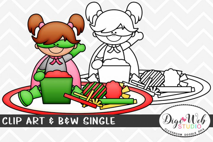 Clip Art & B&W Single - Superhero Girl Opening Gifts