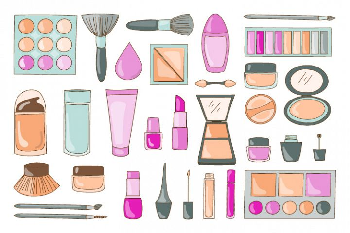 collection of cosmetic vector designs and makeup