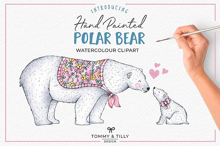 Hand Painted Watercolour Polar Bear - Clipart PNG