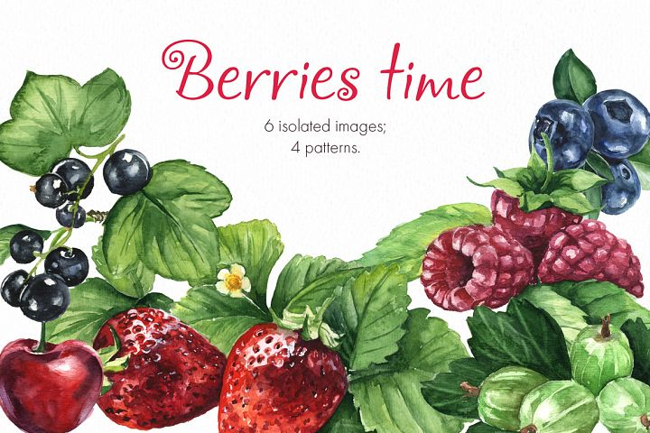 Berries time. Watercolor clip art