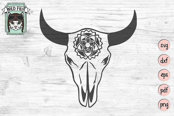 Cow Skull svg file, Cow Skull cut file, Cow Skull Feathers