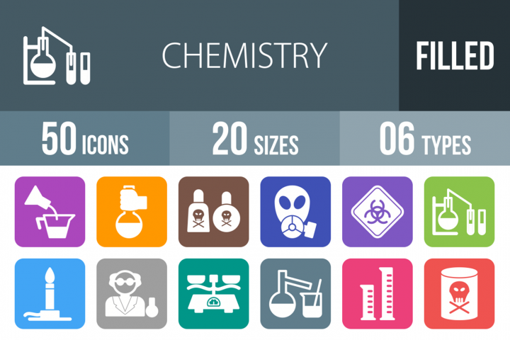50 Chemistry Filled Round Icons