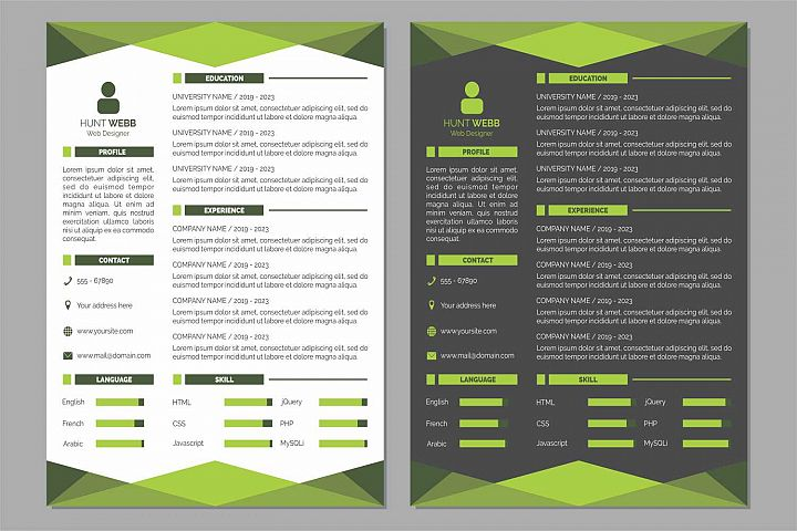 Curriculum Vitae Resume Clean and Dark Green Color