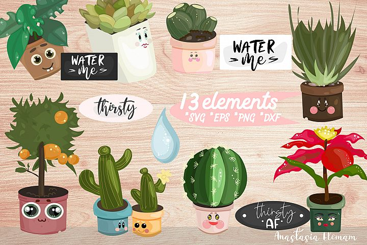 Water Me Potted Plants clipart sticker set eps png svg dxf