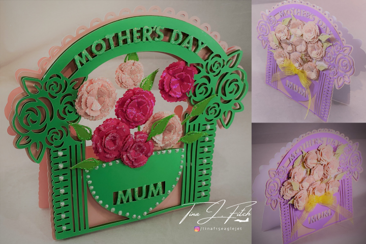 Mothers Day Arch Floral Card Template, SVG
