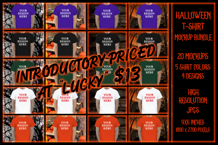 Halloween t-shirt Mockup Bundle, TShirt Mock-Up Bundle, JPG