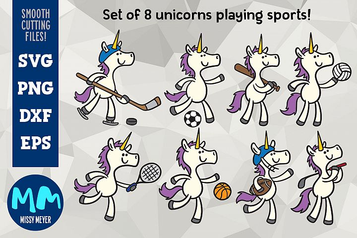 Unicorns Playing Sports - set of 8 unicorn cartooons