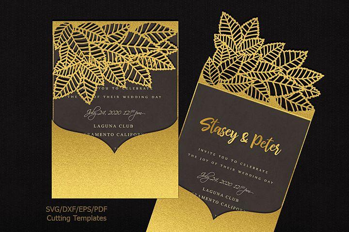 Leaves pocket envelope Wedding Invite svg dxf laser cut file