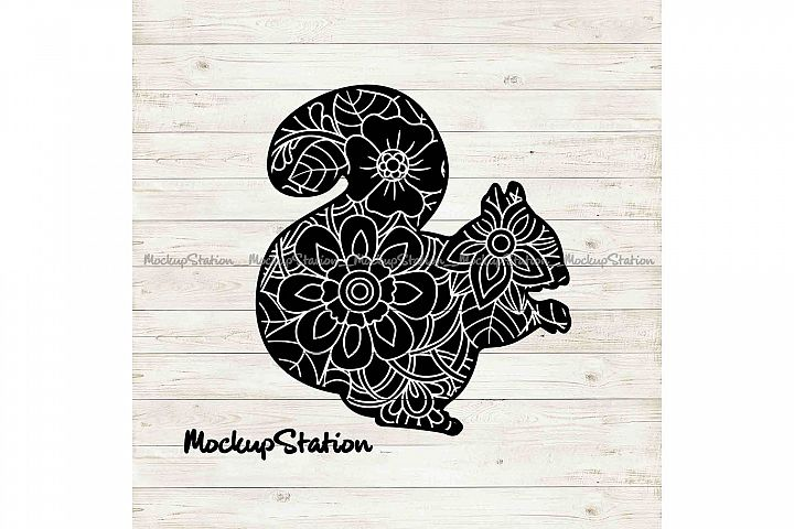 Squirrel Mandala SVG, Squirrel Flower Decor PNG Cut File