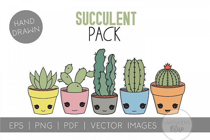 Succulent Pack | Vector succulents & Cactus Kawaii Images