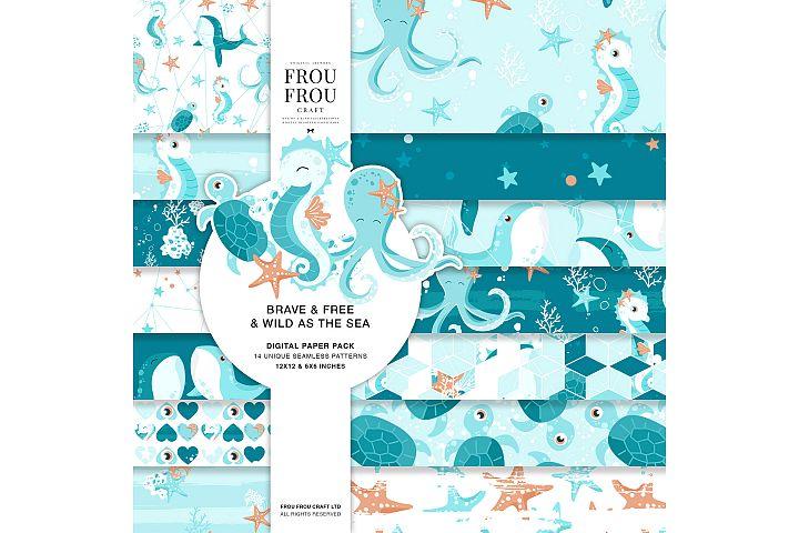 Sea Ocean Animals Whale Sea Horse Star Fish Paper Pack