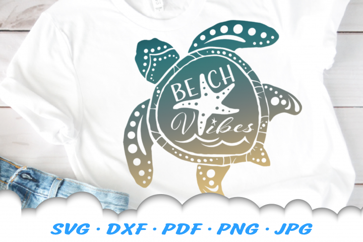 Beach Vibes Sea Turtle Starfish SVG DXF Cut Files
