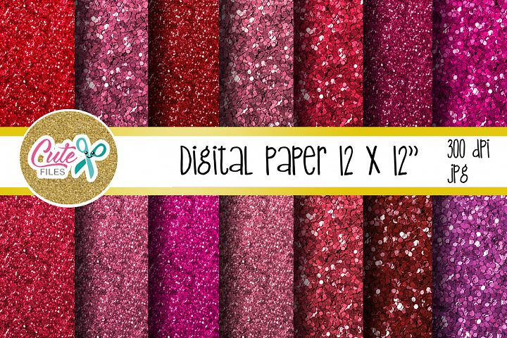Glitter pink and red valentines day Digital papers