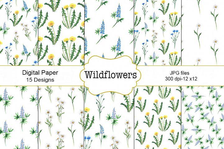 Wildflowers watercolor pattern.