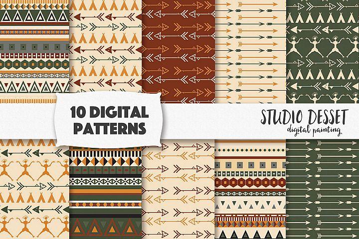Primitive Digital Papers, Boho Backgrounds