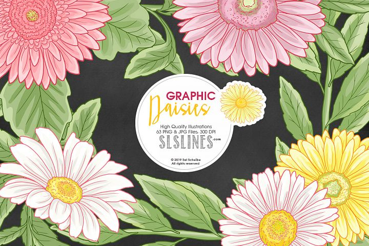 Daisy Graphic Set in Pink & Yellow