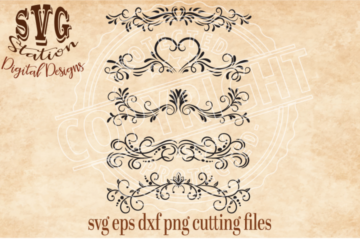 5 Ornamental Flourish Borders Cut File