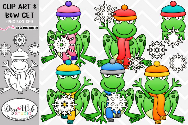 Clip Art / Illustrations - Snowflake Frogs