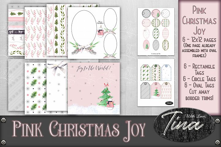 Pink Christmas Joy Frames Tags Contemporary Snowmen