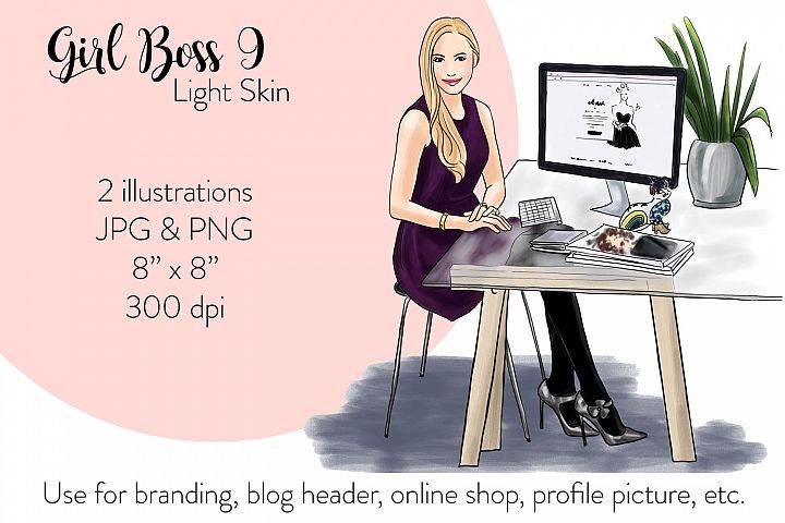Fashion illustration - Girl boss 9 - Light Skin