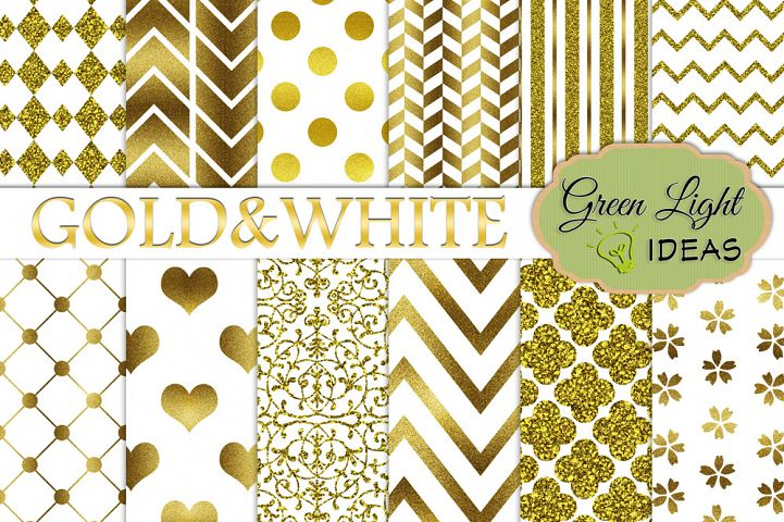 Gold And White Digital Papers
