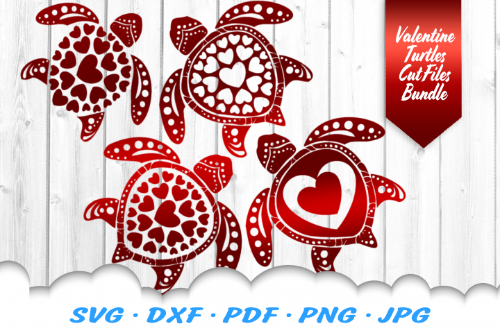 Valentines Sea Turtle Heart Mandala SVG DXF Cut Files