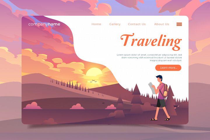 Traveling Website Illustration Template