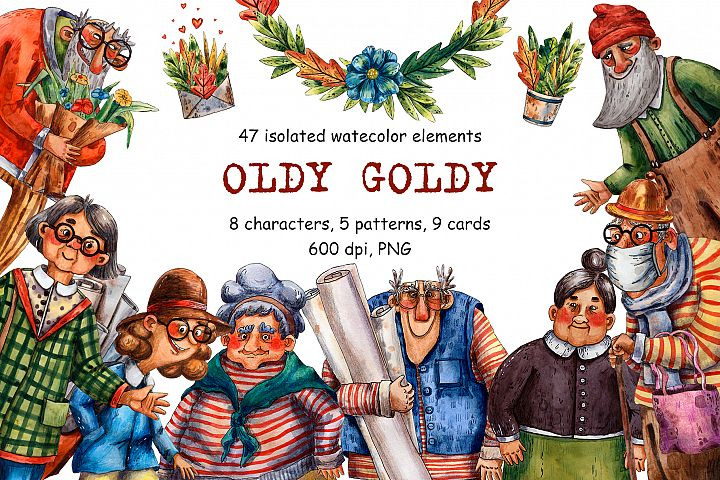 Oldy Goldy - Watercolor Clip Art Set