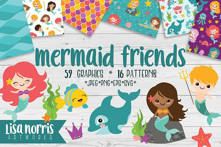 Mermaid Friends Clip Art, Patterns, & SVG Cutting Files