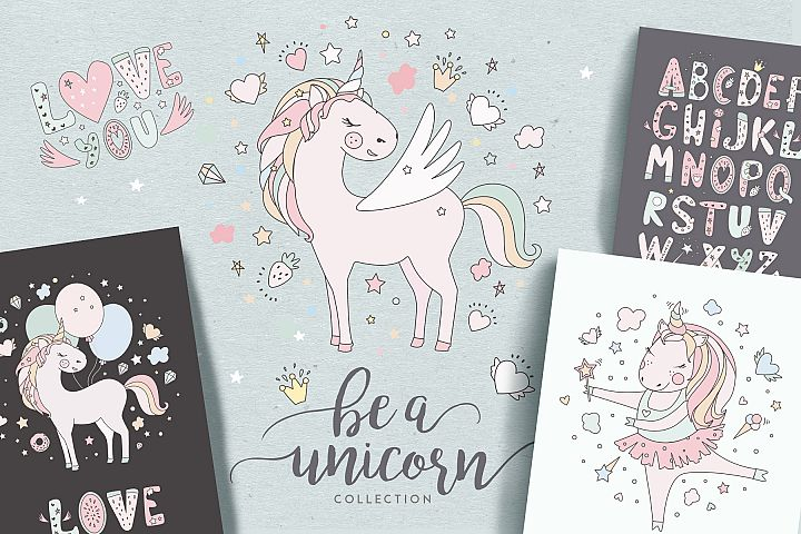 Magical collection of unicorns
