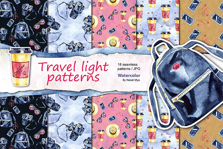Travel light - seamless patterns