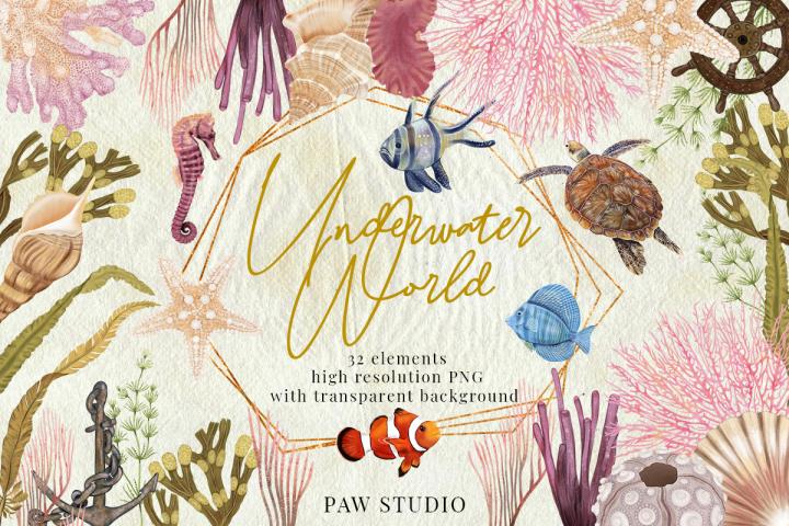 Illustration of Underwater World. Marine Bundle. Sea Animals