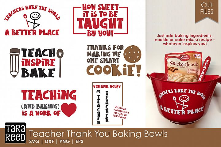Teacher Thank You Baking Bowls - Teacher SVG files 4 Crafter
