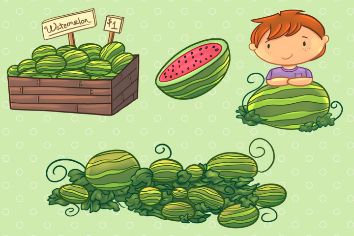 Watermelon Patch Clip Art Collection example 3