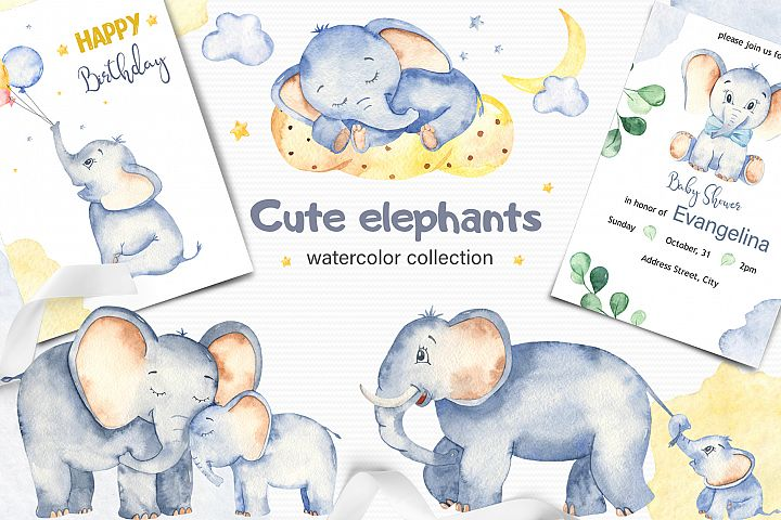Cute elephants watercolor collection clipart