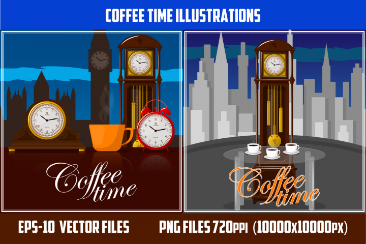Coffee time theme illustration.