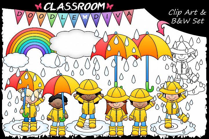 Rainy Day Kids - Classroom Doodle Diva Clip Art & B&W Set