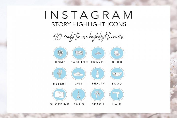 40 Instagram Story Highlights Icons in Blue, Hand Drawn