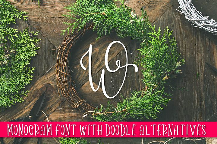 Doodlegram - Monogram Font With Doodle Alternatives