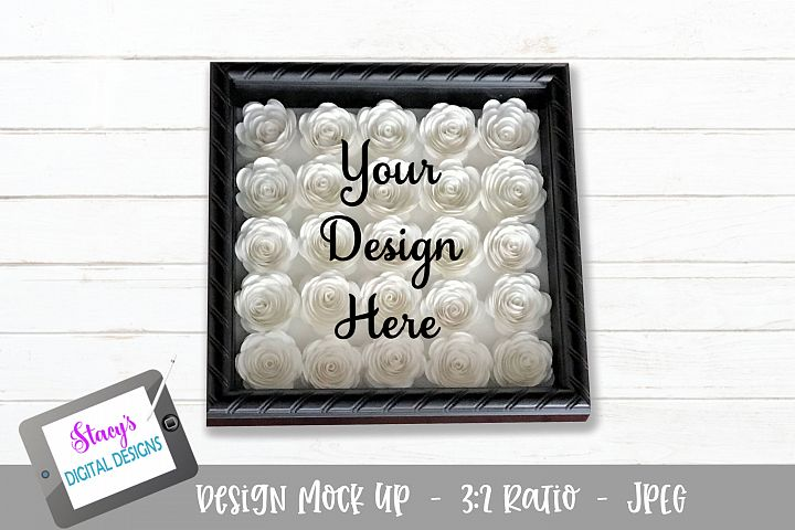 Mock Up - Rolled flower shadow box - White