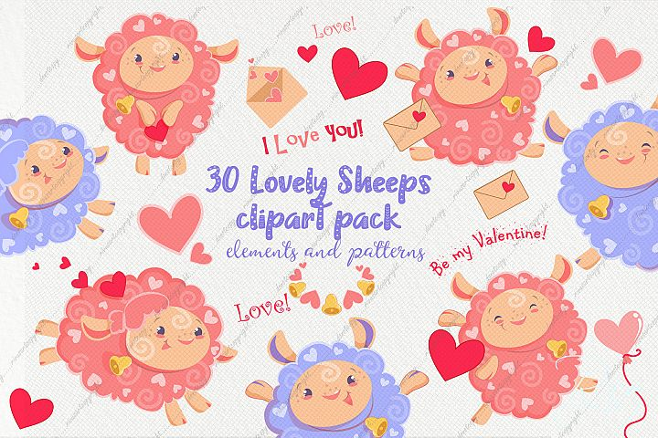 30 Valentine days sheep clipart and papers pack