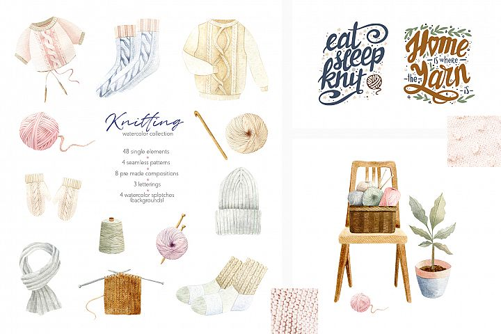 Knitting Watercolor Illustrations Collection