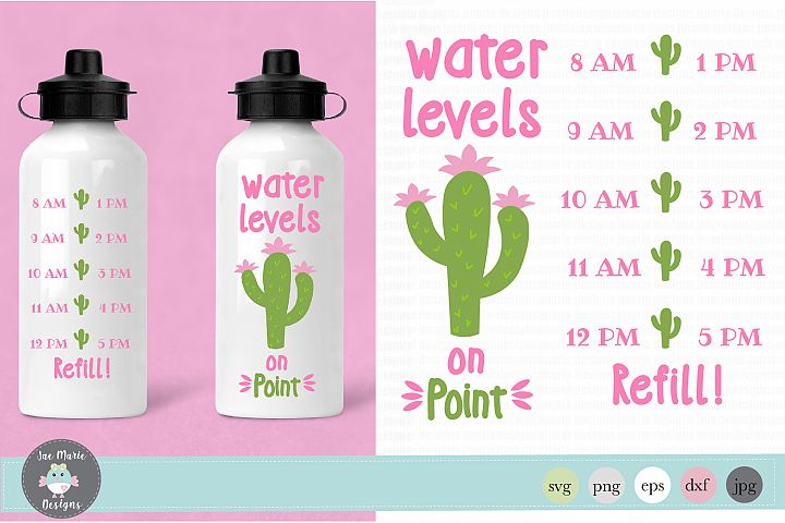 Water levels on point svg, cactus water bottle tracker svg