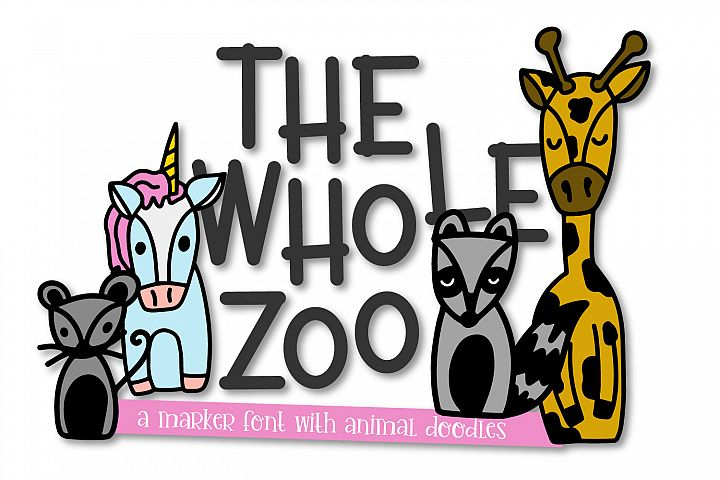 The Whole Zoo - Marker Font & Animal Dingbat Duo