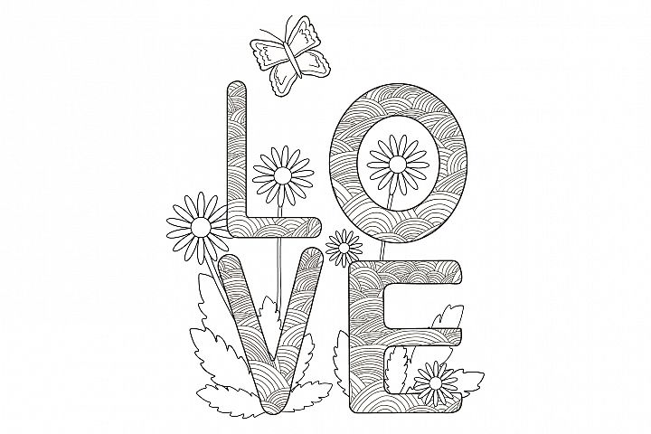 Digital coloring page. Card with word Love, flowers, butter