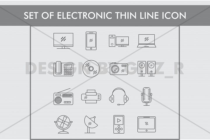 Set of Electronic Thin Line Icons