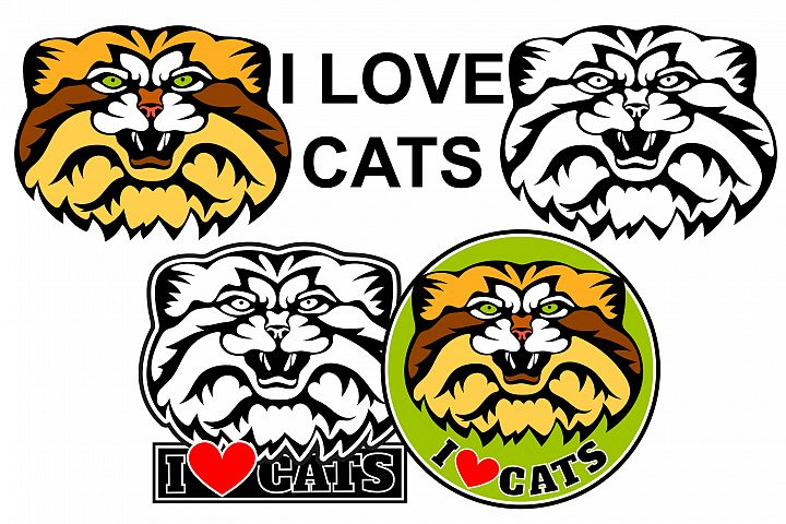 I Love cats logo. Cat manul head, vector illustration